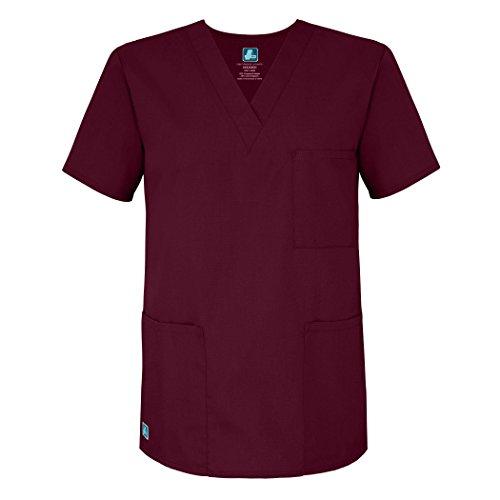 Adar Universal Unisex V-Neck Tunic Top 3 Pockets - 601 - Burgundy - - Kostüm Medicale Dama
