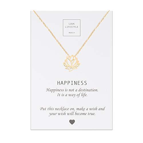 tahl Halskette mit Lotusblüte Anhänger und Happiness Spruchkarte, Glücksbringer, Damen Schmuck, gold ()