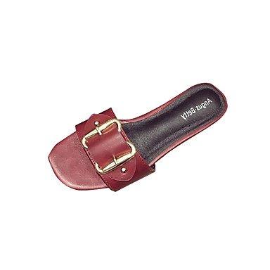 LQXZM Wohnungen von Frauen Sandaletten Komfort PU Sommer lässig zu Fuß Slouch stiefel Absatz Weiß Schwarz Burgund Flache Burgundy