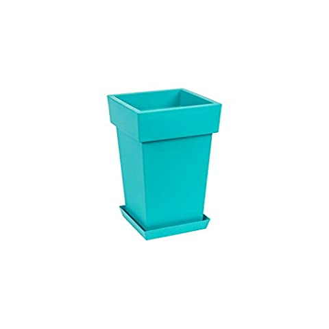 Original Lofly Square turquoise flowerpot with saucer, 29.5 cm of height