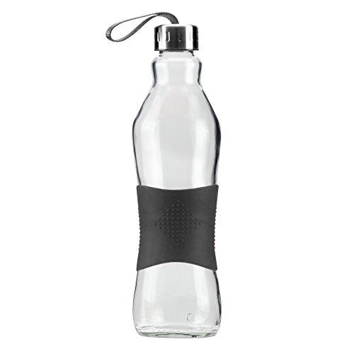 Grip & Go 1.0L Glas Wasserflasche / Kühlschrank Flasche - Rutschfester Silikongriff - Edelstahldeckel - SCHWARZE - 1 Liter Glas
