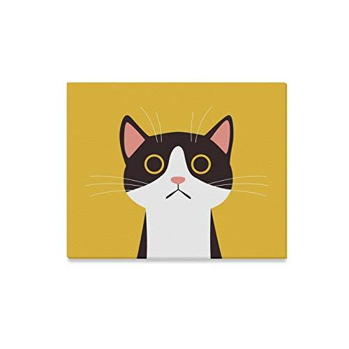 JIUCHUAN Wandkunst Malerei Flaches Design Katze Gesicht Gelb Drucke Auf Leinwand Das Bild Landschaft Bilder Öl Für Zuhause Moderne Dekoration Druck Dekor Für Wohnzimmer