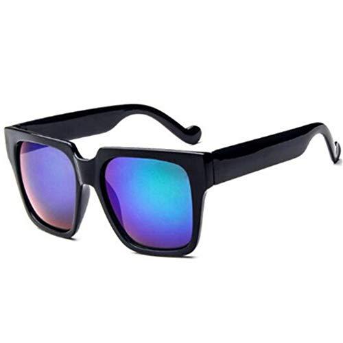 WDDYYBF Sonnenbrillen, Lässige Mode Klassischen Komfort Sonnenbrille Unisex Square Vintage Sonnenbrille Retro Frauen Männer Uv400 Black Frame Marine, Blaue Linse
