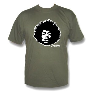 Jimi Hendrix, T-shirt, khakigreen, taglia L