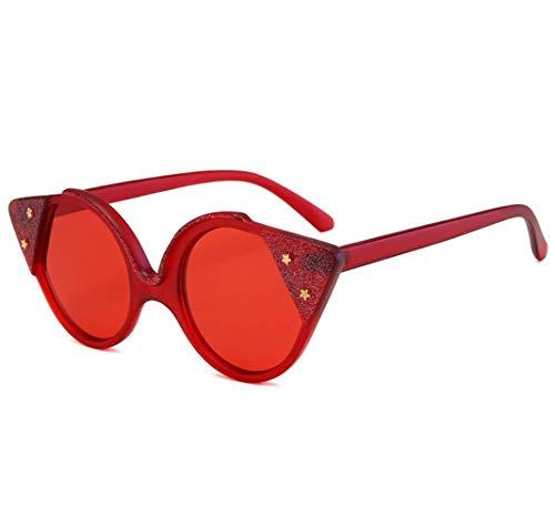FILTERQ Unisex-Adult Sparkle Sparkling Vintage Star Strass Cat Eye Sonnenbrille Neuheit Glitter Shades Damen & Mädchen,Red