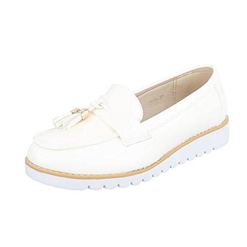 Ital-Design Slipper Damen-Schuhe Low-Top Moderne Halbschuhe Weiß, Gr 38, 62050-