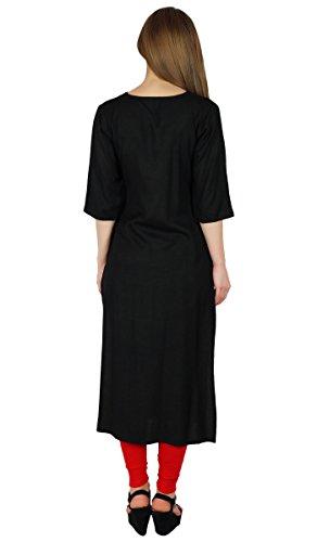 Bimba Noirs Lisse Kurta Kurti Classique Chic Tunique formelle V-Neck Blouse Noir