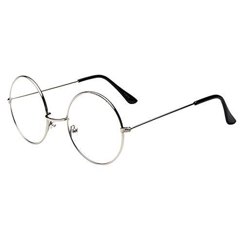 fazry Ovale Brille Fashion Runde klare Gläser Vintage Geek Nerd Retro Stil Metall Brille Gr. Einheitsgröße, silber
