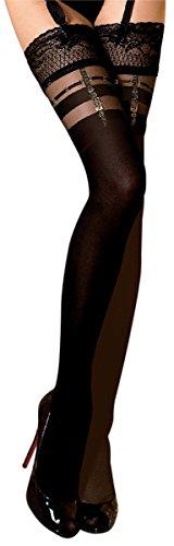 Unbekannt Ballerina Halterlose Damen-Strümpfe, schwarz, 20/60DEN, mit Muster, Strapsoptik Größe Small/Medium