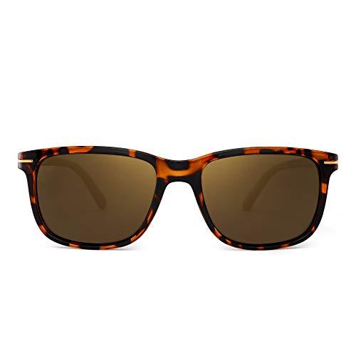 JIM HALO Retro Polarisiert Sonnenbrille Klassisch Platz Fahren Brille Damen Herren(Schildkröte/Polarisiertes Gold)