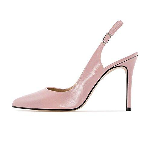 EKS Damen Elegante Spitzschuh Dünne Fersen Slingback Matte Dress Court Schuhe Rosa 39EU