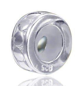 MATERIA European Bead Stopper 925 Silber Element mit Gummiring - für 3mm-Armbänder OHNE Brücken #354