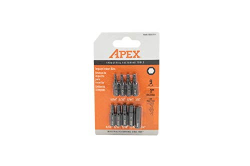 Apex AMB1HXSET-9 Industrie-Grade 2,5 cm SAE-Schlag-Einsatz, Sechskant-Bits, 9-teilig, Schwarz (Power Driver Dewalt)