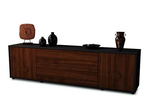 Stil.Zeit TV Schrank Lowboard Tina, Korpus in anthrazit matt/Front im Holz-Design Walnuss (180x49x35cm), mit Push-to-Open Technik und hochwertigen Leichtlaufschienen, Made in Germany