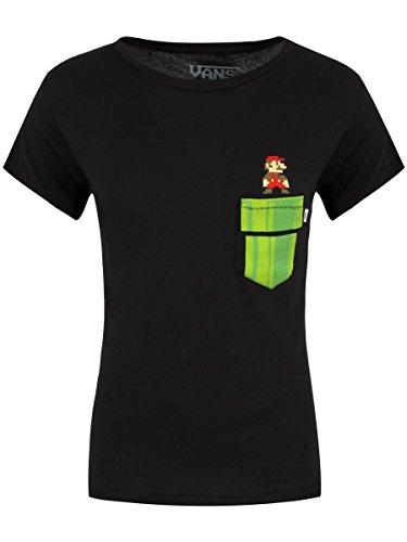 Vans T-Shirt Nintendo Super Mario Warp Pocket da donna in nero