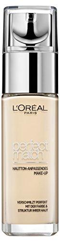 L'Oréal Paris Perfect Match Foundation, flüssiges Make-Up, deckend und feuchtigkeitsspendend für einen natürlichen Teint - 1N ivory (30 ml)