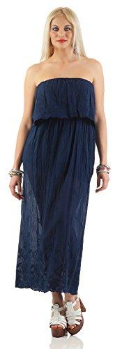 IKONA21 �?Fashion Italy Damen Kleid Shirt Bluse Tunika Longshirt Onesize S M 36 38 500 608 Dunkel Blau
