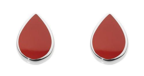 Dew 3061ra orecchini a perno, a forma di goccia, in argento sterling e con pietra di agata rossa sferica