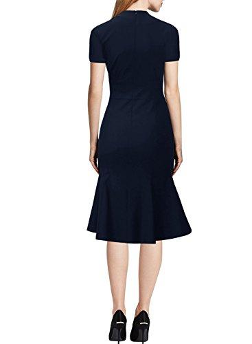 KAXIDY Femmes Robes Vintage Manches Courtes Robes Robe de Soirée Bleu