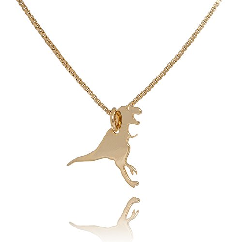 Malaika Raiss Halskette Damen Dinosaurier Anhänger feine Venezianerkette Kette Lachend Dinolove Laugh Smile 24 Karat Vergoldet Hochglanz - 3111A-TRSM