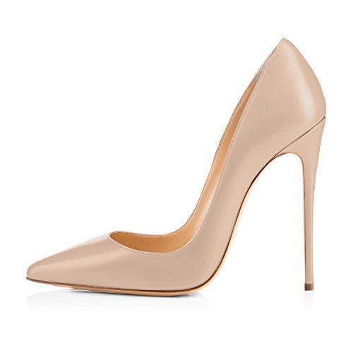 Damen Pumps Spitze Schuhe High-Heels Stiletto Mehrfarbig Hochzeit Party Ballsaal Rutsch beige EU40