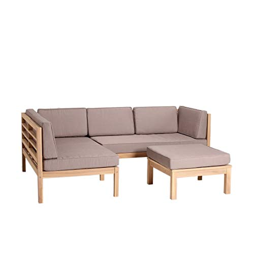 OUTLIV. Loungemöbel Holz Odense Loungegruppe 3-teilig Taupe-Grau Akazie Teak-Look Loungemöbel Outdoor Gartenlounge Set