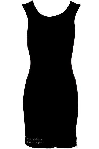 Saphir Damen Ärmellos Abend Tribal Aufdruck Schwarz Folie Intelligente Damen Bodycon Kleid Schwarz/Weiß/Silber