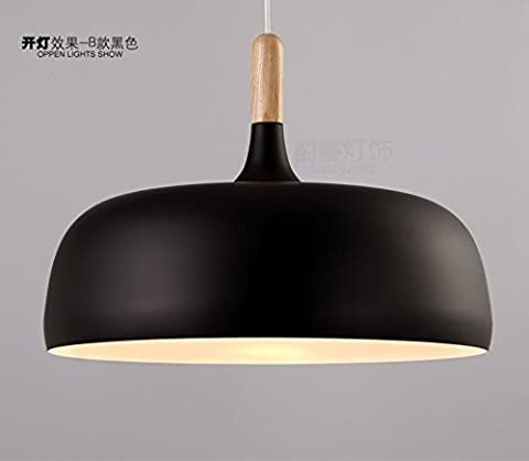 Simple modern Nordic Restaurant Restaurant chandelier lamp creative personality Bar Cafe wooden aluminum cover single head lamp,black,32cm*25cm