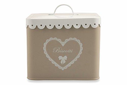 Villa d'Este Home Tivoli vintage Boîte à biscuits avec décorations, étain, crème/blanc, 15 x 17.5 x 19 cm