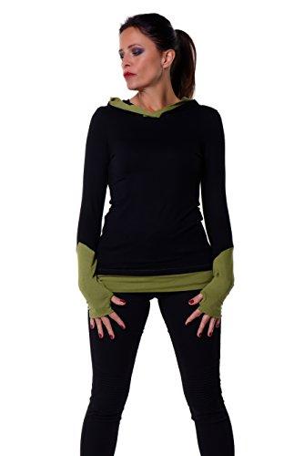 Damen Hoodie / Gothic Bekleidung / Shirt Longsleeve Kapuze für Frauen mit Daumenloch Armstulpen von...