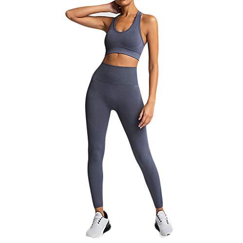 Damen Sportswear 2 Teile/Satz Trainingsanzug Hohe Elastizität Sportbekleidung Halfter Sport-Tops + Leggings Fitness Anzüge Für Yoga, Laufen und Andere Aktivitäten - Halfter Plus Size Anzug