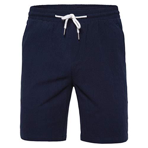 GreatestPAK Herren Sommer Einfarbig Badehose Elastisch Strandsurfen Laufen Kurze Hosen Lässig Outdoor Jogginghose Shorts,Marine,EU:XS(Tag:M) -
