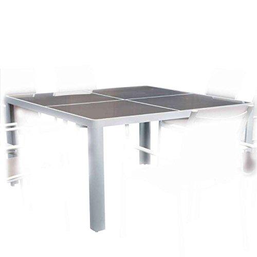 Table carrée 1.4x1.4m victoria alu/verre