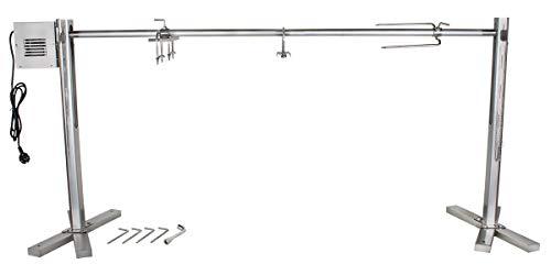 Beeketal \'BSG150-SG\' Stand Spanferkelgrill für Feuerstellen oder Lagerfeuer mit Spießgrill Motor (ca. 4 U/Min), stabile 4-fach höhenverstellbare Edelstahl Konstruktion inkl. Boden Befestigungshaken