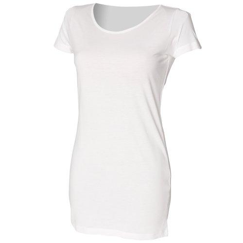 Skinni Fit - T-shirt long (manches courtes) - Femme Blanc - Blanc