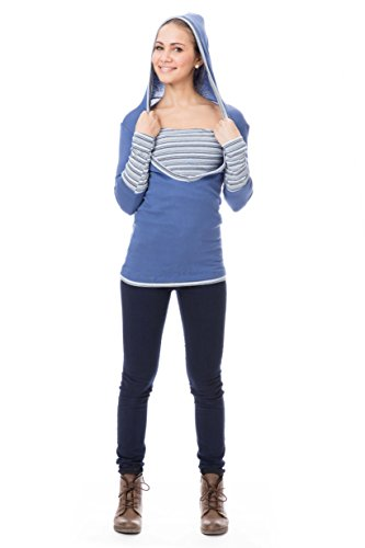 GoFutureWithLove - T-Shirt à manches longues - Manches Longues - Femme in Blau mit blaugrauen Streifen