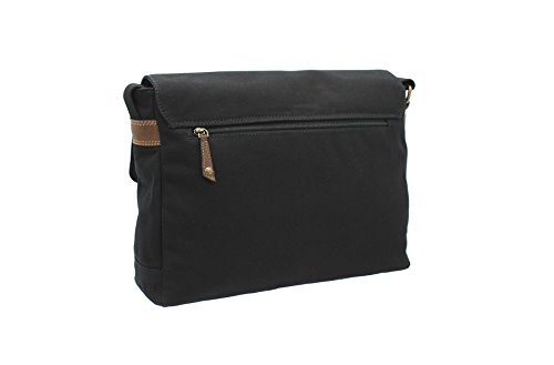 Cactus Canvas E Distressed Leather Oliato A4 Messenger Laptop Bag Cs809 81 Nero