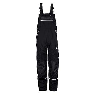TMG Arbeitslatzhose Herren | Schutz-Latzhose mit Kniepolster-Taschen & Reflektoren | Handwerker, Elektriker, Mechaniker | Schwarz 52
