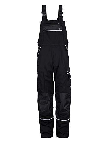 TMG® Arbeitshose Latzhose Herren schwarz - Arbeitshosen Männer mit Taschen für Kniepolster Arbeitslatzhose EU56