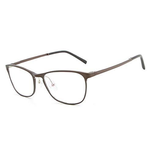Neue Aluminium-Magnesium ultraleichte Mode blaulicht Flache Spiegel gläser Rahmen Mode Hipster männer Brille (Color : Brown)