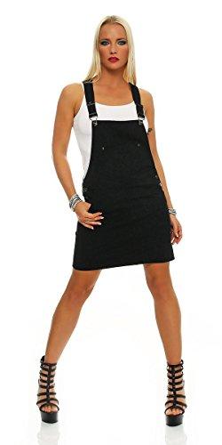 11095 Fashion4Young Damen Jeansskirt Jeansrock Minirock Trägern Latzrock Rock Denimrock Schwarz (L=40, schwarz)