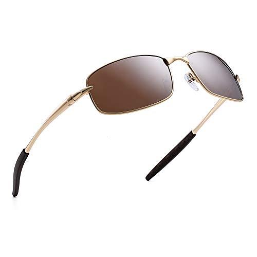 Polarisiert Fahren Sonnenbrille Rechteckig Kurve Wickeln Metall Federscharnier Herren(Gold/Polarisiertes Braun)
