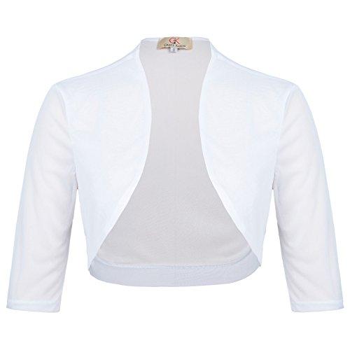 Damen Halber Ärmel Bolero Top Elegant Shrug für Mädchen Chiffon Schulterjacke L CL473-2 (Halbe Hülse Sheer Damen)