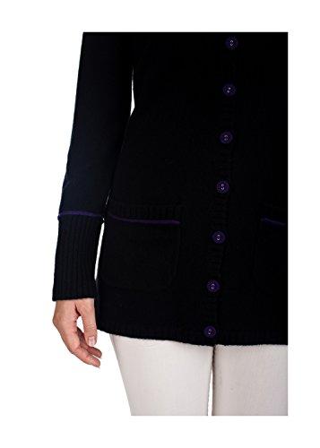 AUDREY - Gilet cachemire long bicolore 2 fils - 100% cachemire Noir / Violet