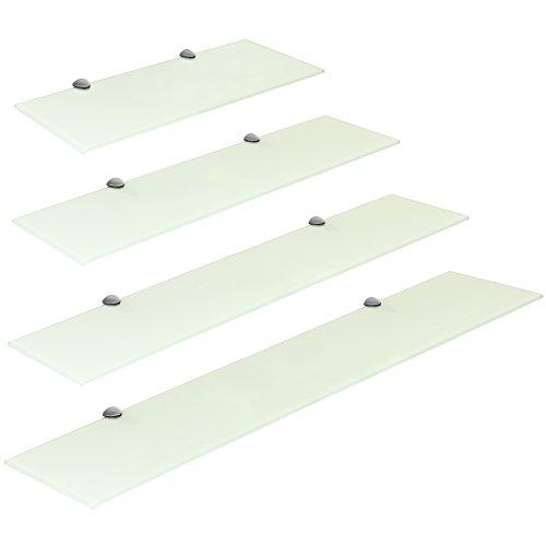 Hartleys mensola di vetro bianco con i fissaggi in cromo - dimensioni a scelta