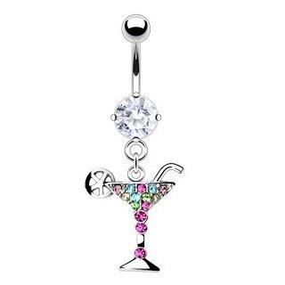Piercing per ombelico a forma di bicchiere da cocktail con set di gemme multicolore, lunghezza: (Corpo Alcool)