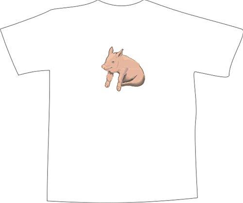 T-Shirt E601 Schönes T-Shirt mit farbigem Brustaufdruck - Logo / Grafik - Comic Design - schönes kleines Ferkel / Minischwein Schwarz