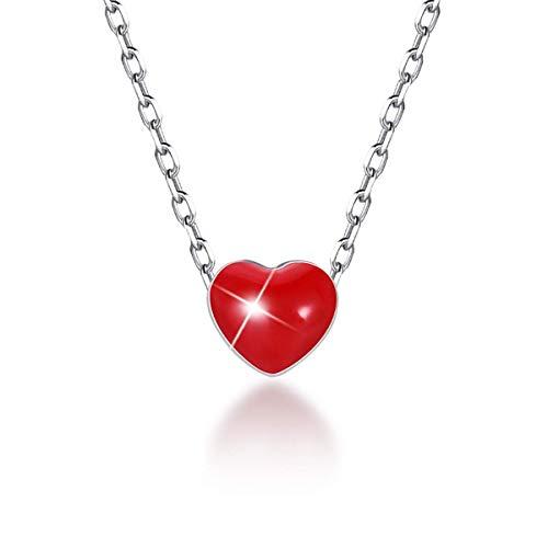 SIMPLOVE Tiny Heart Halskette für Frauen 925 Sterling Silber Roter Emaille Herzform Anhänger Halskette Geburtstag Muttertagsgeschenk