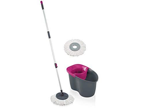 Leifheit Set Clean Twist Disc Mop 60 Years Edition, Wischer für nebelfeuchte Reinigung, Wischmop mit Schleudertechnologie, Schleudermop ohne Fußbedienung, Bodenwischer mit Click-System, pink