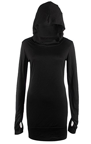 Mode Damen Kapuze Schlank Lange Ärmel Kapuzenpullover Kleid Oberteile Schwarz
